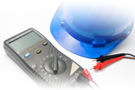 Image of hard hat and multimeter